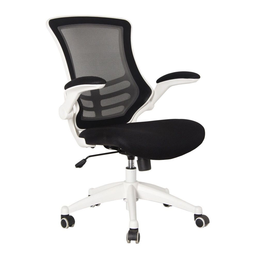 Luna Task & Operator Chair, Folding Arms, White Frame with Black, Blue or Red Fabric